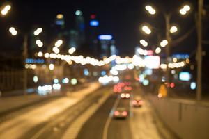 Blurred lights of city traffic at night