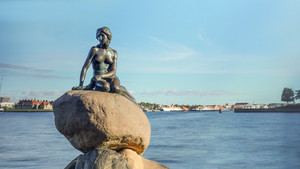 Little mermaid statue on rock in denmark
