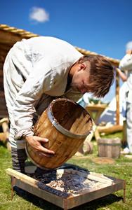 Man making barrell