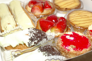 Diversity of french pastry with cream
