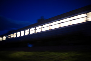 Train passing by in the evening
