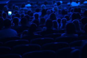 Audience in the cinema silhouette