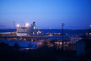 Night view of a docked cruise liner