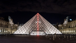 Illuminated glass pyramid at the louvre