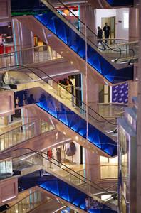 Three escalators in shopping centre rio
