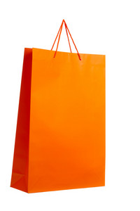 Orange paper bag on white.