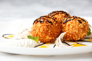 Delicious dessert with fried ice cream