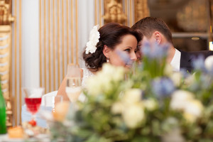 Bride and groom share a special tender moment
