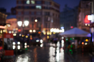 Blurred cityscape on a rainy evening