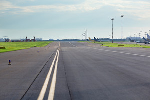 Empty airport road