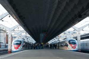 High speed train sapsan departs from the railway station