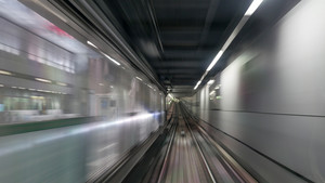 Moving subway train