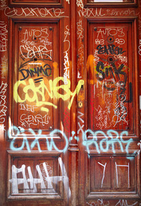 Door with graffiti