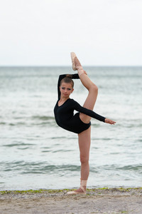 Girl gymnast in black