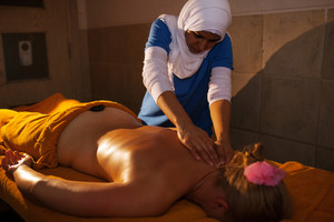 Back massage in asian beauty spa