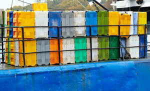 Containers on the cargo ship