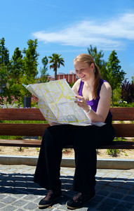 Girl is reading the map