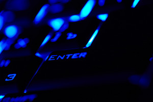 Enter key in a blue light  macro shot