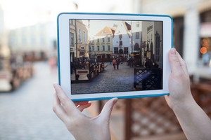 Making photo or video with pad of old street in tallinn