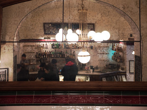 Cafe interior reflecting in the mirror