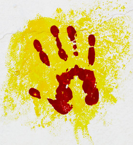 Red palm on the yellow background.