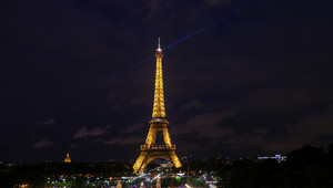 View of the light show on the eiffel tower