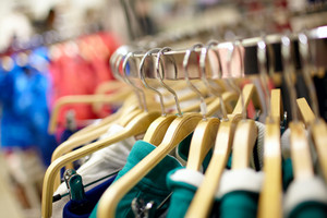 Hangers in the clothing store.