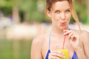 Pretty Woman Enjoying Fresh Juice