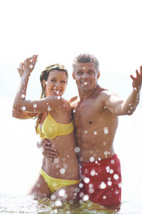 Couple Posing In Water