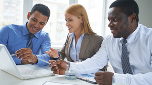 Business Partners Pointing At Laptop Screen At Meeting
