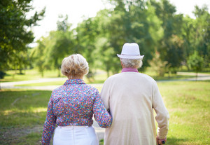 Back View Of Serene Senior Couple Taking A Walk In The Park