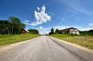 Classic Scene Of A Highway In Rural Area