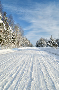 Road In A Countryside In Sunny Winter Day. Classic Snow Covered Winter Landscape