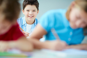 Portrait Of Cute Schoolboy Looking At Camera At Lesson