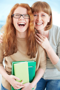 Lovely Girl And Her Mother Laughing