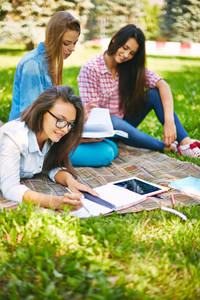 Teenage Female Making Notes In Park With Her Friends On Background
