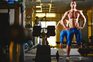 Image Of Topless Man Standing In Gym