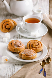 Cup Of Tea And Cinnamon Buns
