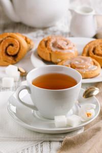 Cup Of Tea And Cinnamon Buns