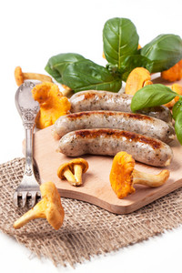 Grilled Sausages With Chanterelle