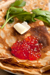 Red Caviar On Pancakes