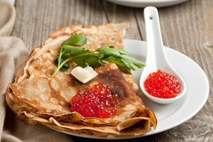 Red Caviar And Pancakes