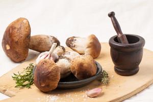 Cep Mushrooms With Vintage Mortar