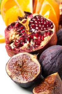 Close Up Of Figs And Pomegranate