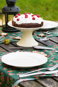 Table Setting With Chocolate Cake