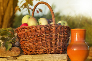Basket Of Apple With Ceramic Pitcher