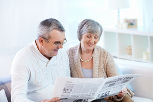 Senior Couple Reading Together Fresh Newspaper