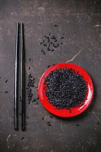Black Rice With Chopsticks