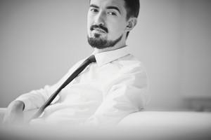 Portrait Of Posh Guy In Formalwear Looking At Camera