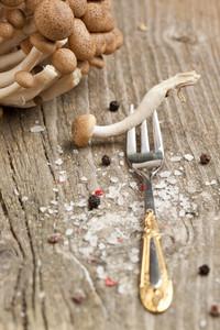 Fresh Mushroom On Fork